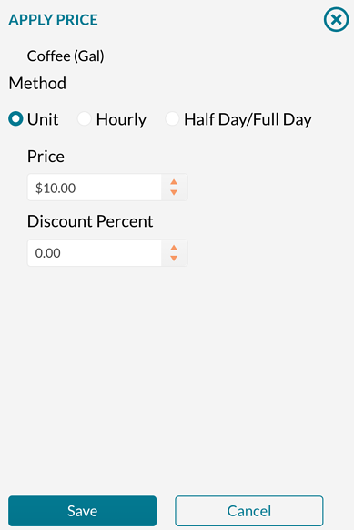 Setting a unit price on a resource