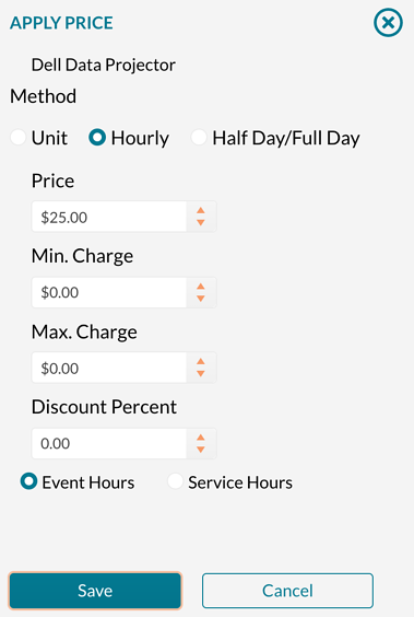 Setting an hourly price on a resource