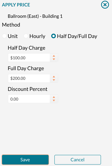 Setting half dayfull day pricing on a room