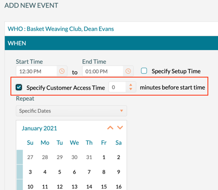 Specifying Customer Access time when adding a new event from Add New Event