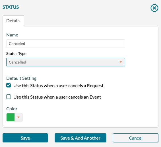 Status - Adding a new status record - Canceled
