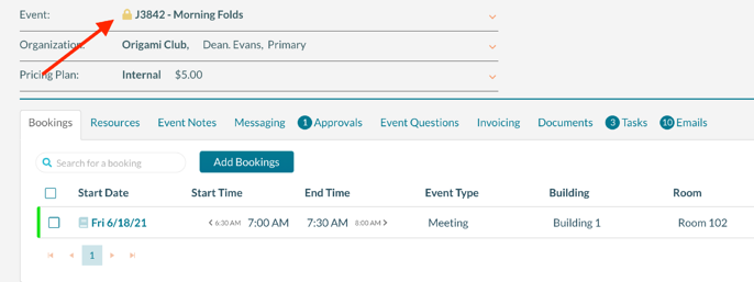 The Event Editor displaying a locked event