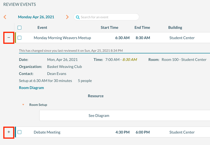 Use the + or  - icon to see or hide booking details