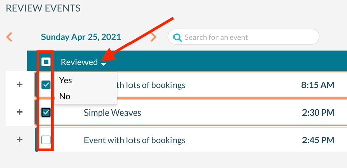 Use the checkboxes on the left side of the grid to select bookings and then use the toolbar at the top of the grid to mark them as reviewed.