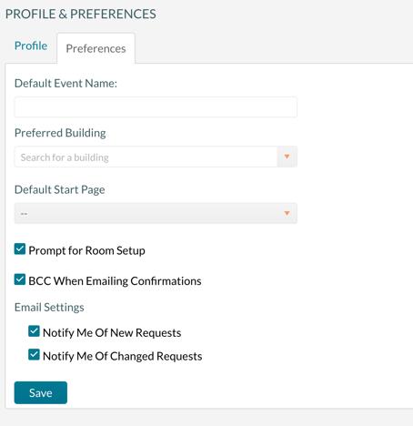User Profile edit screen