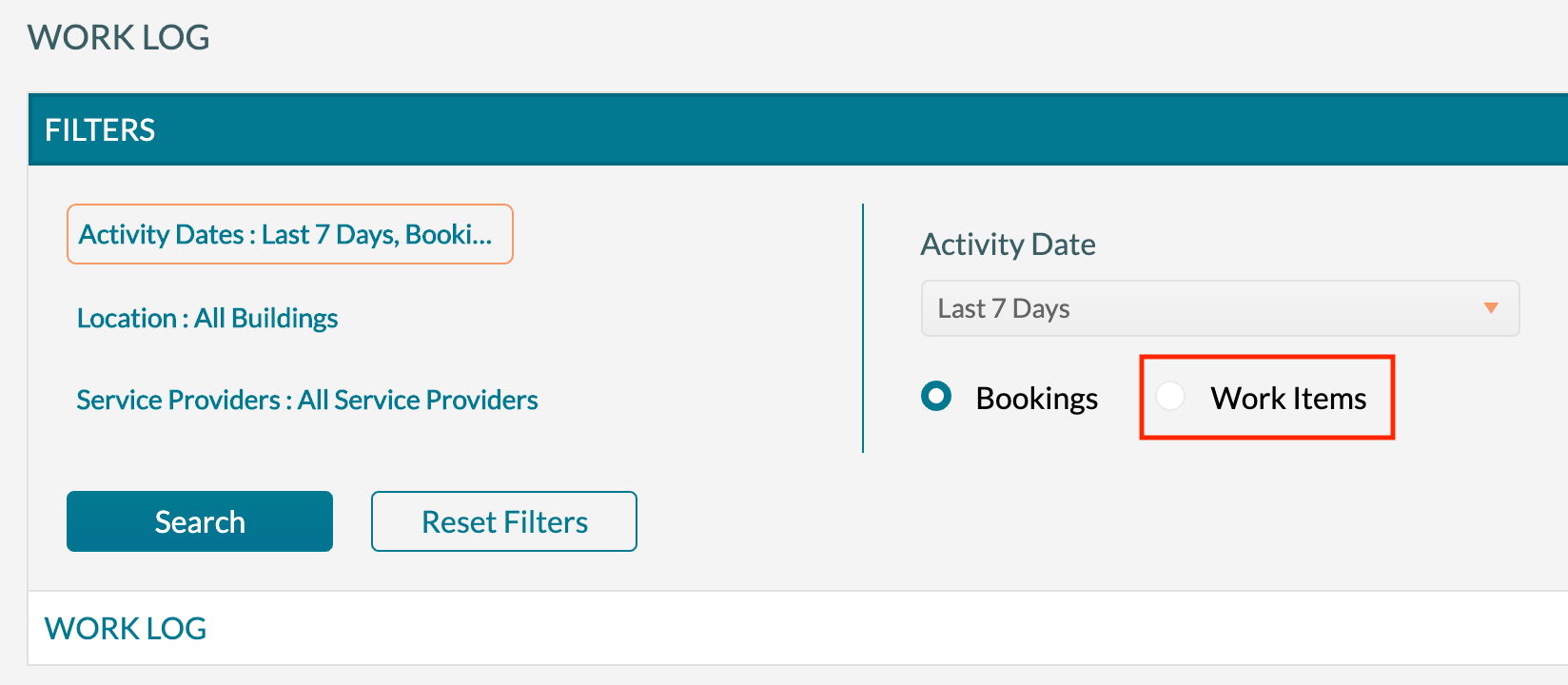 Work Log - Filter for work items