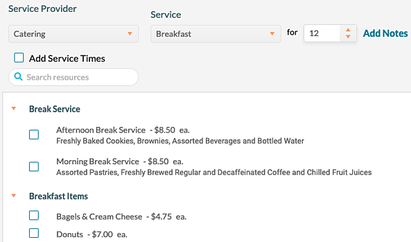Breakfast catering menu items