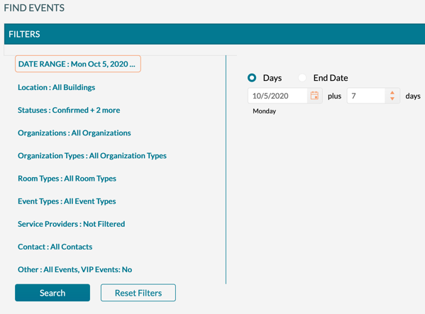 mazevo find events all search filters