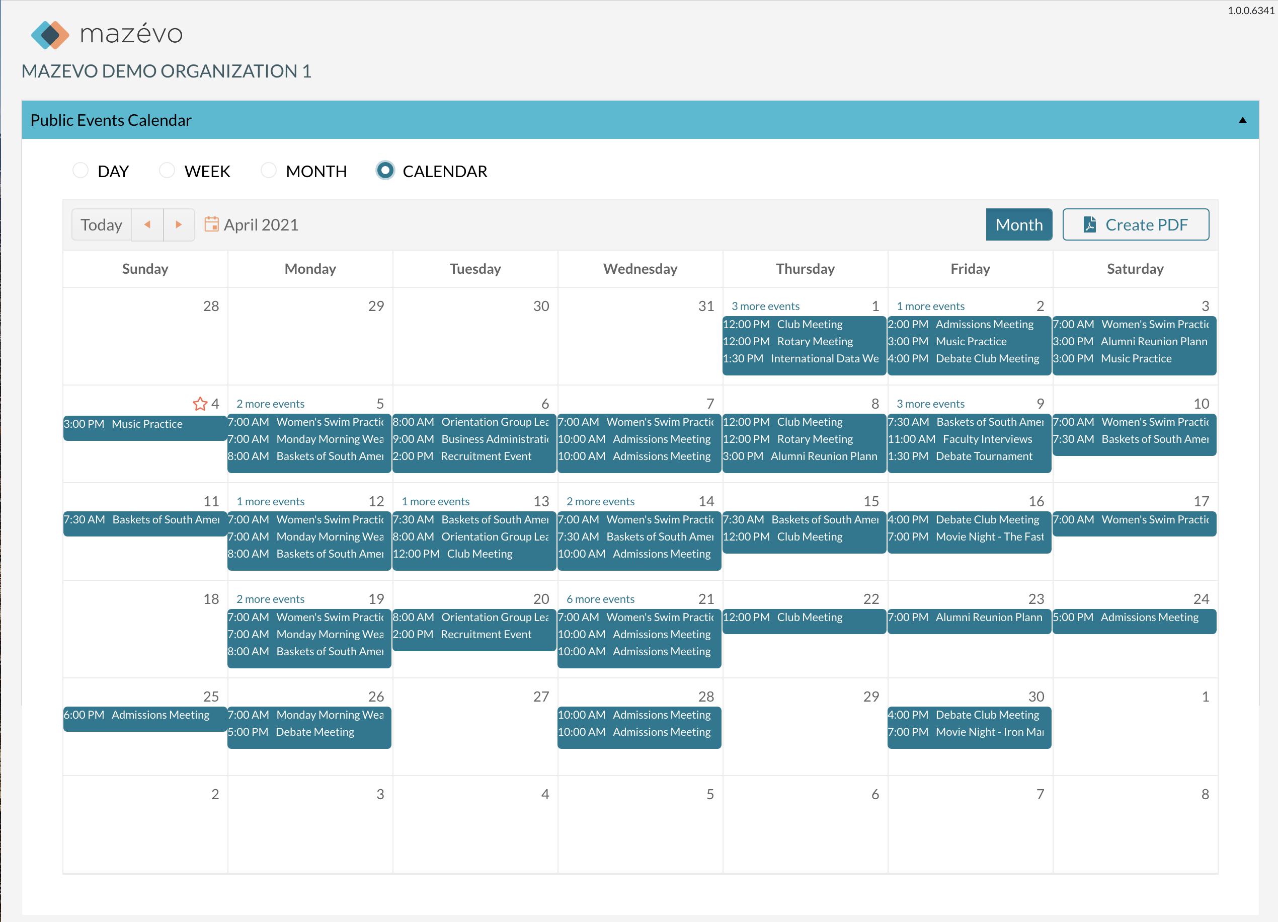 mazevo monthly calendar