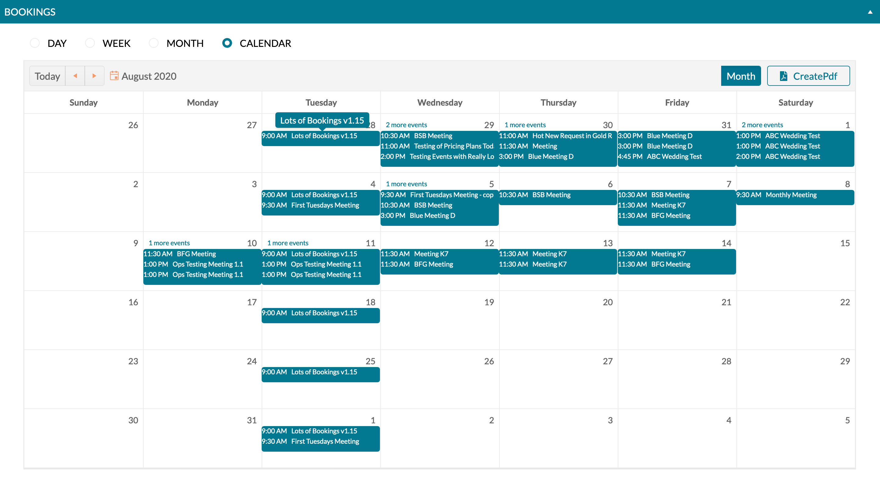mazevo monthly event calendar
