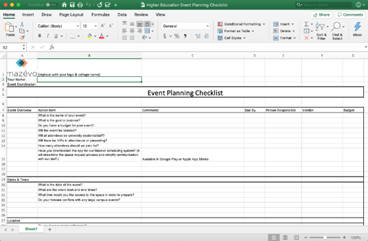 Higher Education Event Planning Checklist Spreadsheet
