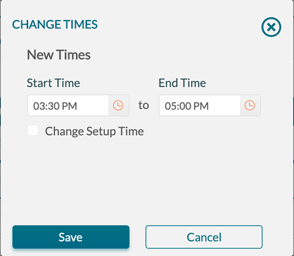 Change Event - Change Times - new time