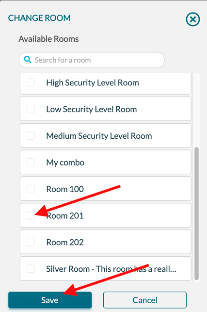 Changing Event - Select new room
