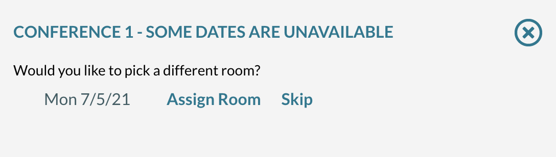 date not available - pick another room