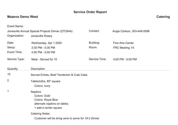 mazevo catering service order report
