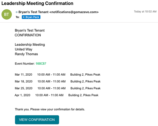 room scheduling confirmation