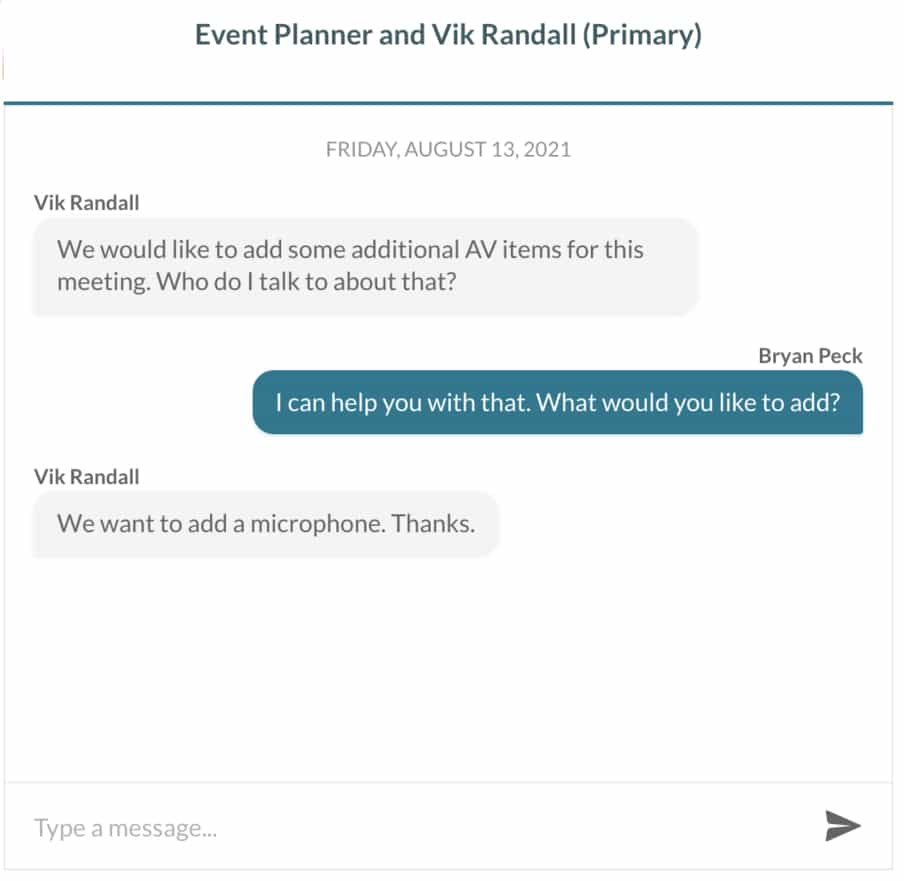event planner messaging with customer