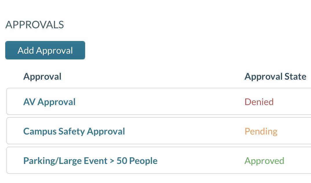list of event approvals screenshot