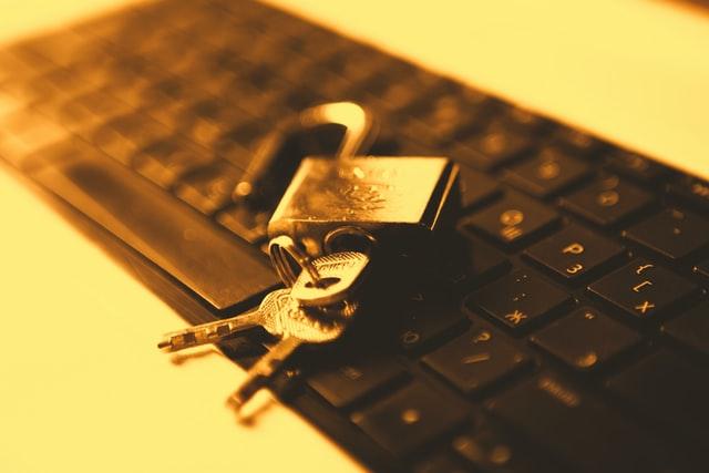 lock with keys on keyboard