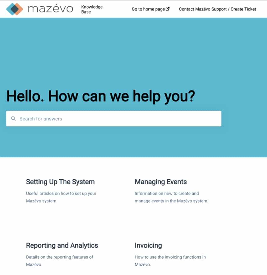 mazevo knowledge Base Screen Shot