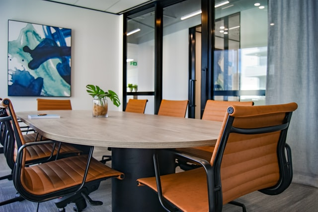 meeting room with orange chairs