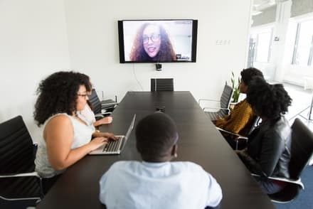 video conference meeting with people